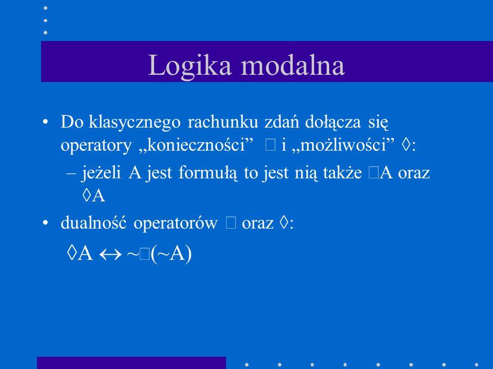 PRZYKŁAD W1: p = 0; q = 1; r = 1W2: p = 1; q = 0; r = 0 W4: p = 1; q = 1; r = 1W3: p = 0; q = 0; r = 1 W={W1, W2, W3, W4} R={(W1,W2), (W1,W3), (W2,W4), (W3,W4), (W4,W1)} L(W1)={-p, q, r} lub {q,r} L(W2)={p, -q, -r} lub {p} itd