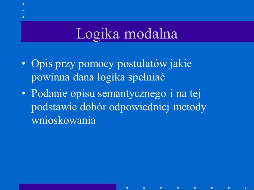 Logika modalna Opis przy pomocy postulatów jakie powinna dana logika spełniać Podanie opisu semantycznego i na tej podstawie dobór odpowiedniej metody