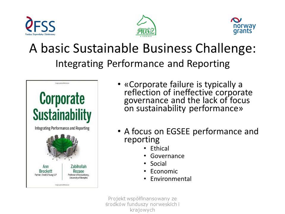 A basic Sustainable Business Challenge: Integrating Performance and Reporting Projekt współfinansowany ze środków funduszy norweskich i krajowych