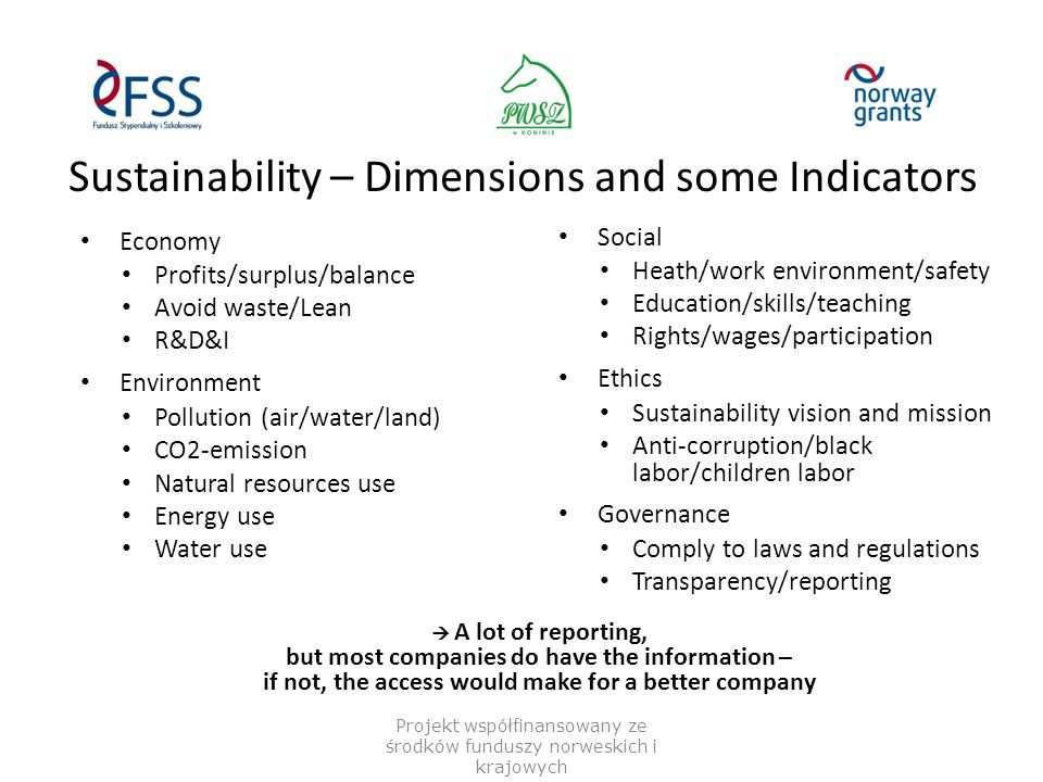 Sustainability – Dimensions and some Indicators Projekt współfinansowany ze środków funduszy norweskich i krajowych Economy Profits/surplus/balance Avoid waste/Lean R&D&I Environment Pollution (air/water/land) CO2-emission Natural resources use Energy use Water use Social Heath/work environment/safety Education/skills/teaching Rights/wages/participation Ethics Sustainability vision and mission Anti-corruption/black labor/children labor Governance Comply to laws and regulations Transparency/reporting  A lot of reporting, but most companies do have the information – if not, the access would make for a better company