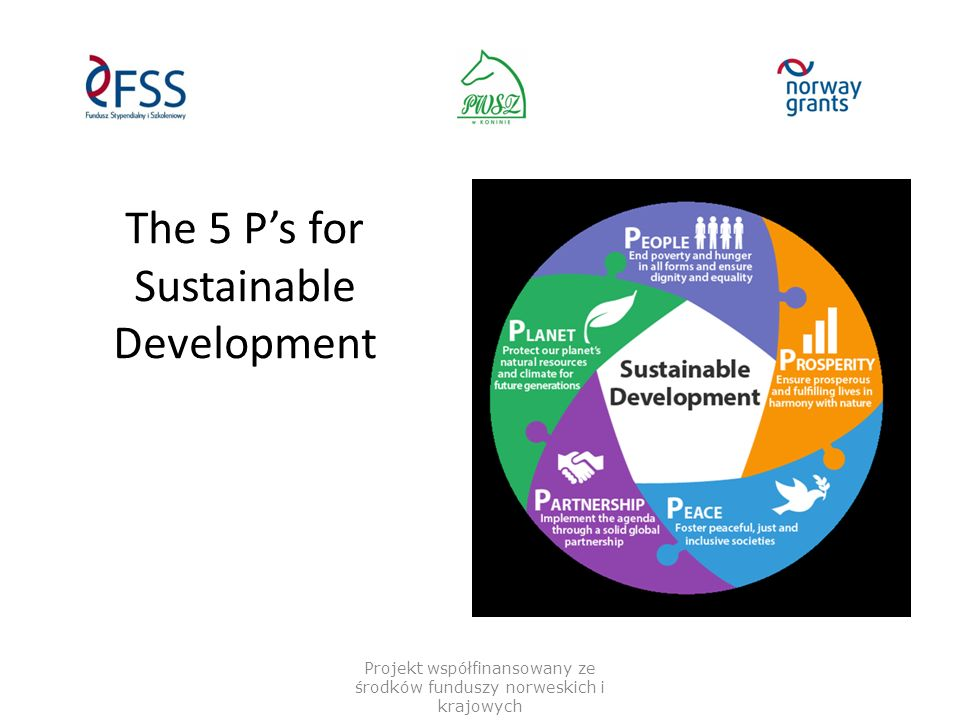 The 5 P's for Sustainable Development Projekt współfinansowany ze środków funduszy norweskich i krajowych
