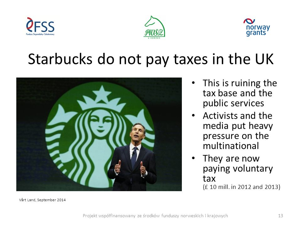 Starbucks do not pay taxes in the UK This is ruining the tax base and the public services Activists and the media put heavy pressure on the multinational They are now paying voluntary tax (£ 10 mill.