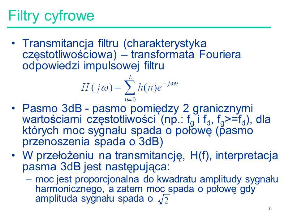 27 Szybka transformacja Fouriera Dla ciągu próbek o długości 2 n opracowano szybki algorytm wyznaczania transformaty Fouriera (Fast Fourier Transform) Aby skorzystać z tego algorytmu, stosowane jest uzupełnianie ciągu próbek do najbliższej potęgi dwójki (zeropadding)
