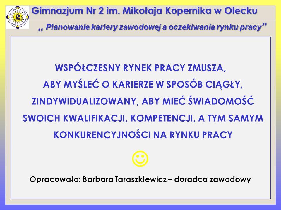 Gimnazjum Nr 2 im. Mikołaja Kopernika w Olecku WSPÓŁCZESNY RYNEK PRACY ZMUSZA, ABY MYŚLEĆ O KARIERZE W SPOSÓB CIĄGŁY, ZINDYWIDUALIZOWANY, ABY MIEĆ ŚWI