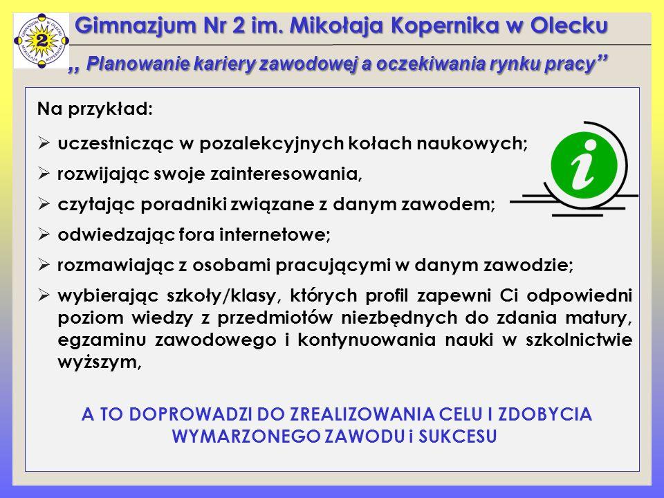 Gimnazjum Nr 2 im. Mikołaja Kopernika w Olecku Na przykład:  uczestnicząc w pozalekcyjnych kołach naukowych;  rozwijając swoje zainteresowania,  cz