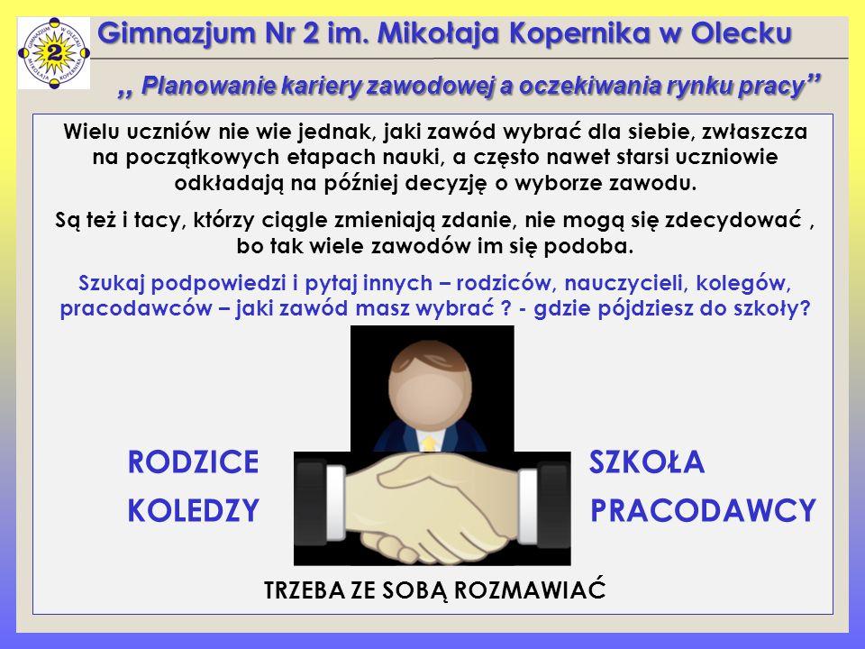 Gimnazjum Nr 2 im. Mikołaja Kopernika w Olecku Wielu uczniów nie wie jednak, jaki zawód wybrać dla siebie, zwłaszcza na początkowych etapach nauki, a