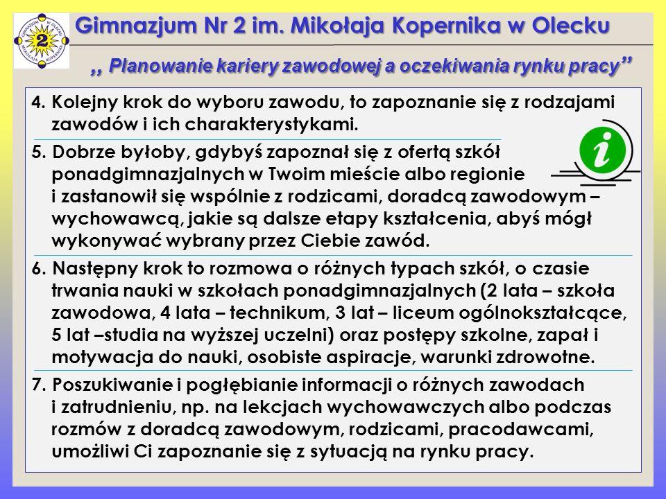 Gimnazjum Nr 2 im. Mikołaja Kopernika w Olecku 4. Kolejny krok do wyboru zawodu, to zapoznanie się z rodzajami zawodów i ich charakterystykami. 5. Dob