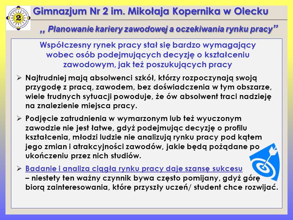 Gimnazjum Nr 2 im. Mikołaja Kopernika w Olecku Współczesny rynek pracy stał się bardzo wymagający wobec osób podejmujących decyzję o kształceniu zawod