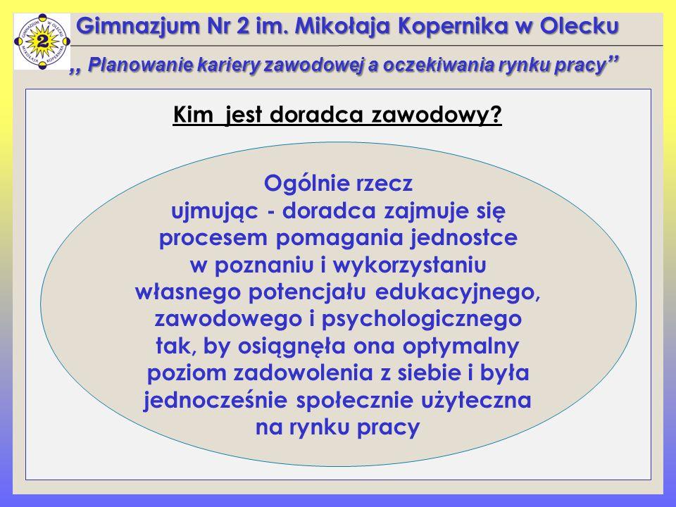 Gimnazjum Nr 2 im. Mikołaja Kopernika w Olecku Kim jest doradca zawodowy?,, Planowanie kariery zawodowej a oczekiwania rynku pracy '' Ogólnie rzecz uj