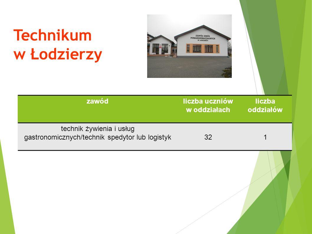 Technikum w Łodzierzy zawódliczba uczniów w oddziałach liczba oddziałów technik żywienia i usług gastronomicznych/technik spedytor lub logistyk321