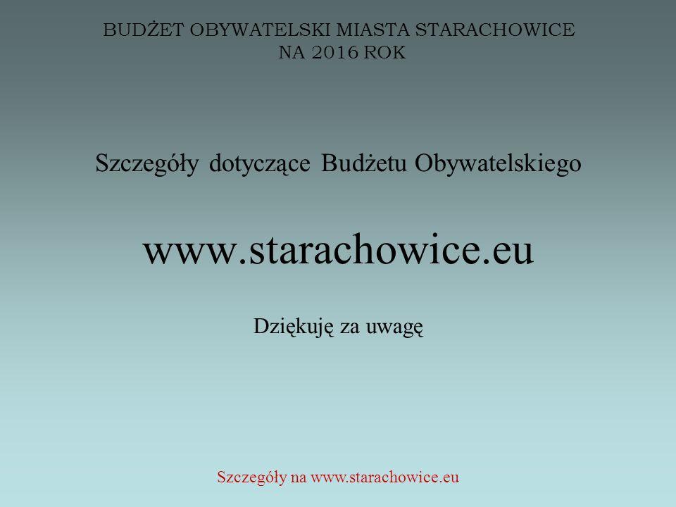 BUDŻET OBYWATELSKI MIASTA STARACHOWICE NA 2016 ROK Szczegóły dotyczące Budżetu Obywatelskiego www.starachowice.eu Dziękuję za uwagę Szczegóły na www.starachowice.eu