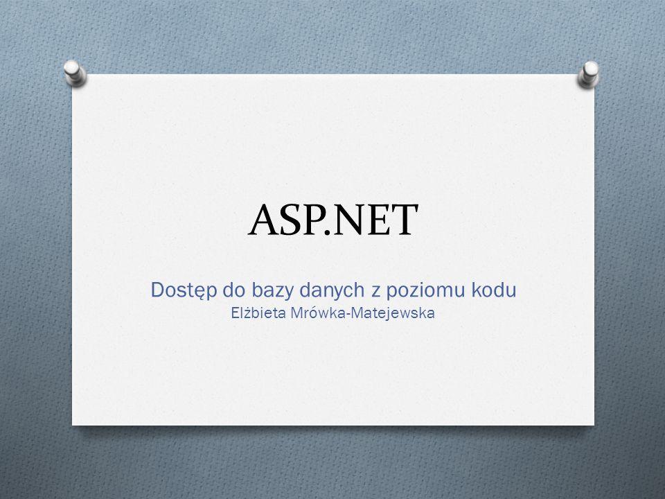 ASP.NET Dostęp do bazy danych z poziomu kodu Elżbieta Mrówka-Matejewska