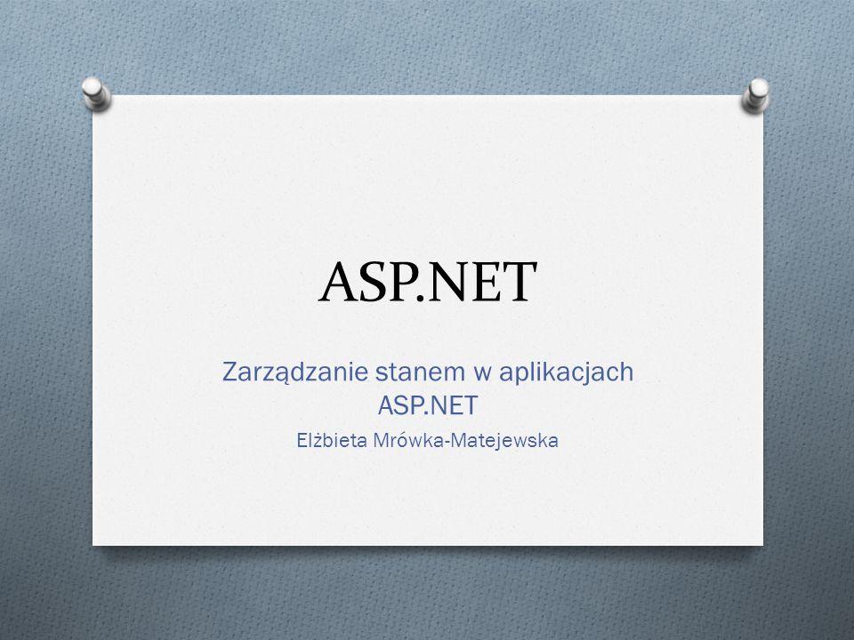 ASP.NET Zarządzanie stanem w aplikacjach ASP.NET Elżbieta Mrówka-Matejewska