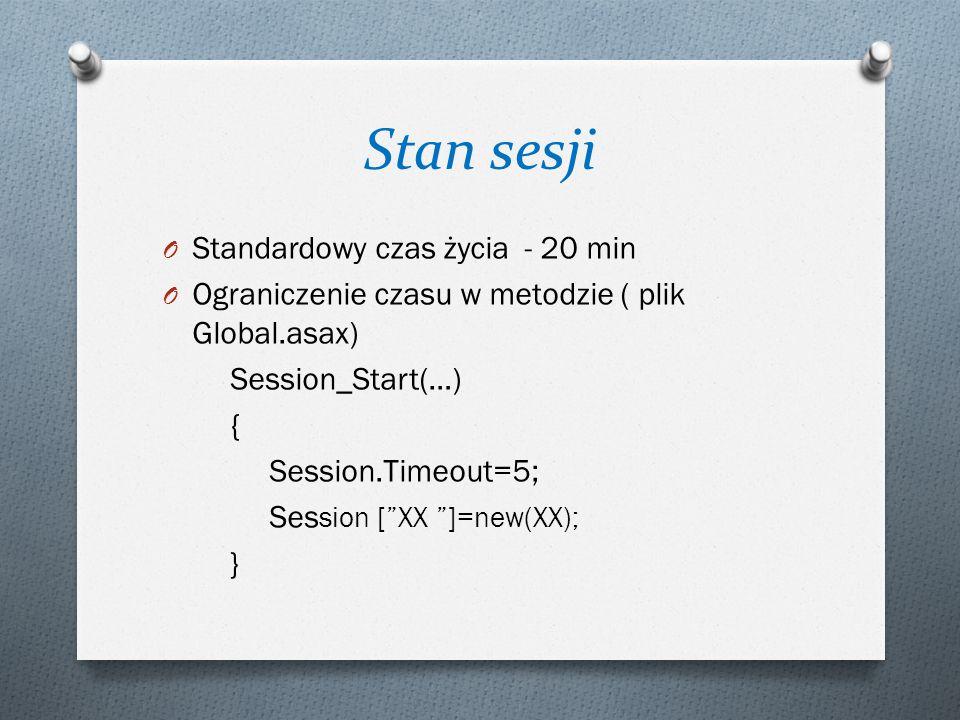 Stan sesji O Standardowy czas życia - 20 min O Ograniczenie czasu w metodzie ( plik Global.asax) Session_Start(…) { Session.Timeout=5; Ses sion [ XX ]=new(XX); }
