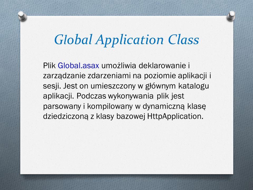 G l obal Application Class Plik Global.asax umożliwia deklarowanie i zarządzanie zdarzeniami na poziomie aplikacji i sesji. Jest on umieszczony w głów