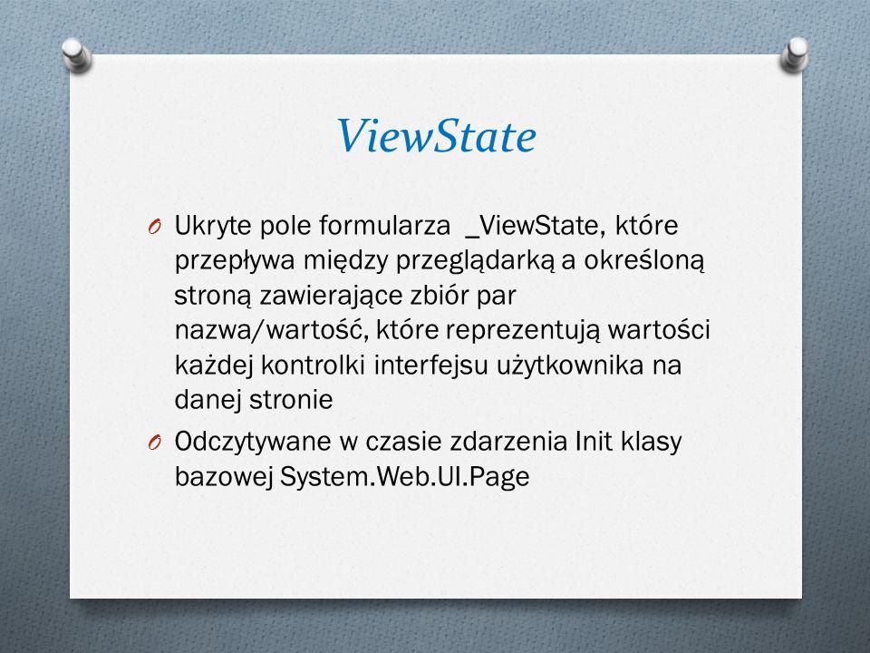 ViewState O Ukryte pole formularza _ViewState, które przepływa między przeglądarką a określoną stroną zawierające zbiór par nazwa/wartość, które reprezentują wartości każdej kontrolki interfejsu użytkownika na danej stronie O Odczytywane w czasie zdarzenia Init klasy bazowej System.Web.UI.Page