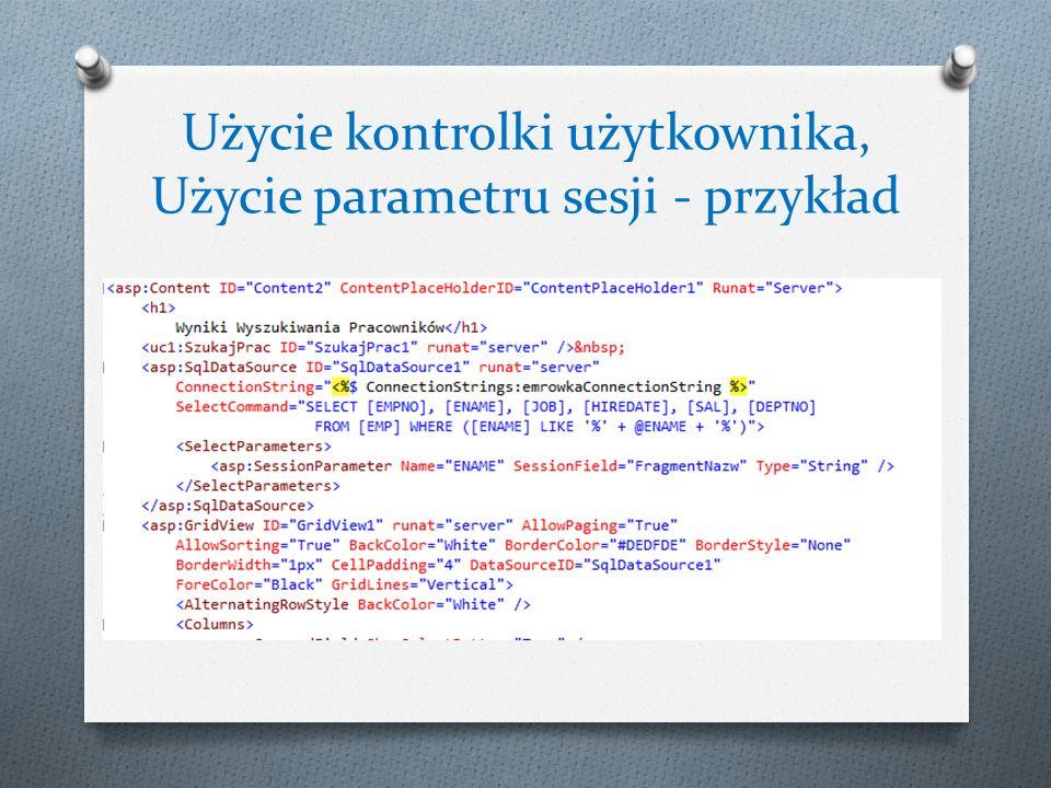 Użycie kontrolki użytkownika, Użycie parametru sesji - przykład