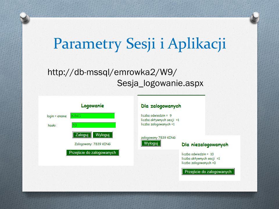 Parametry Sesji i Aplikacji http://db-mssql/emrowka2/W9/ Sesja_logowanie.aspx