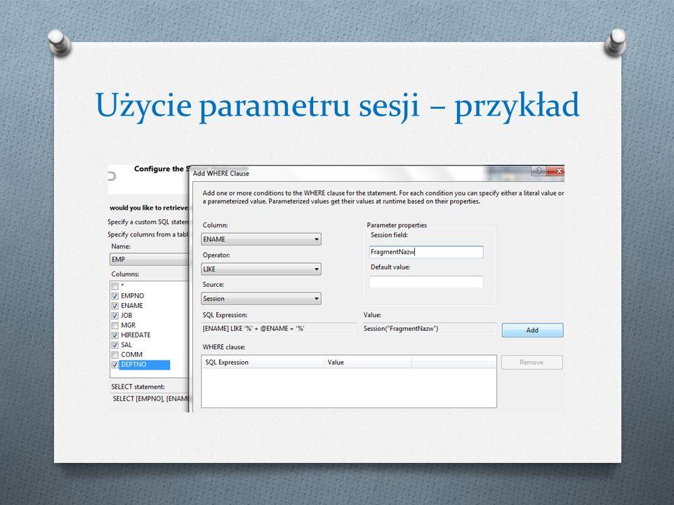 Użycie parametru sesji – przykład