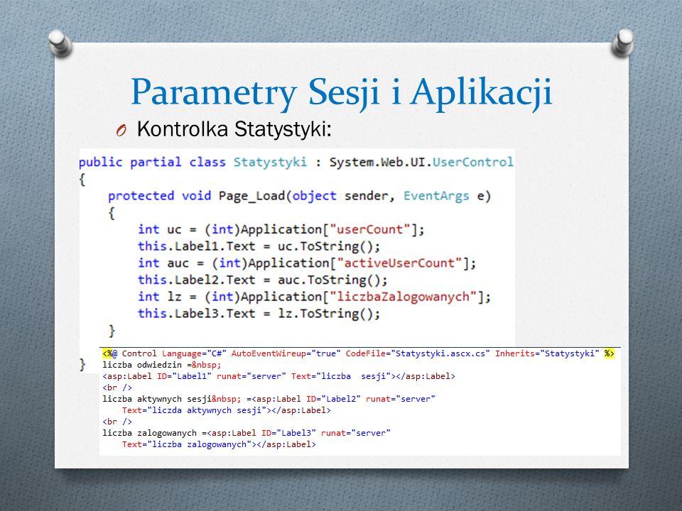 Parametry Sesji i Aplikacji O Kontrolka Statystyki: