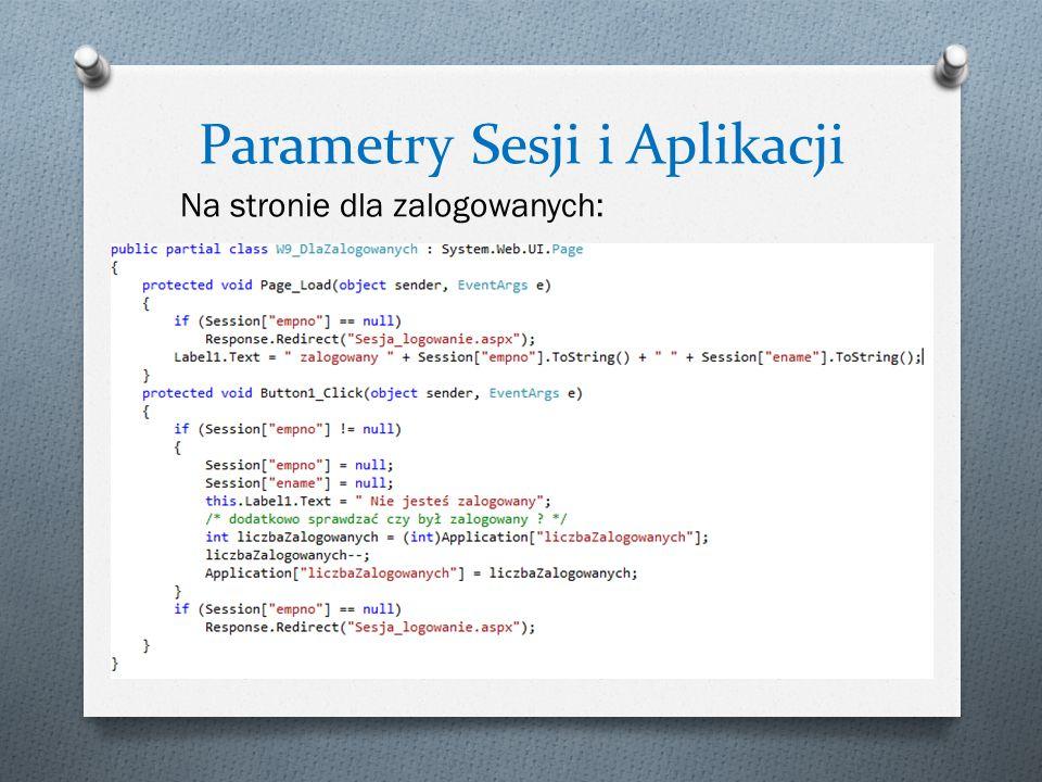 Parametry Sesji i Aplikacji Na stronie dla zalogowanych:
