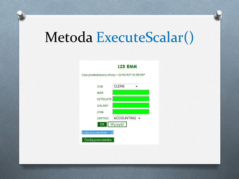 Metoda ExecuteScalar()