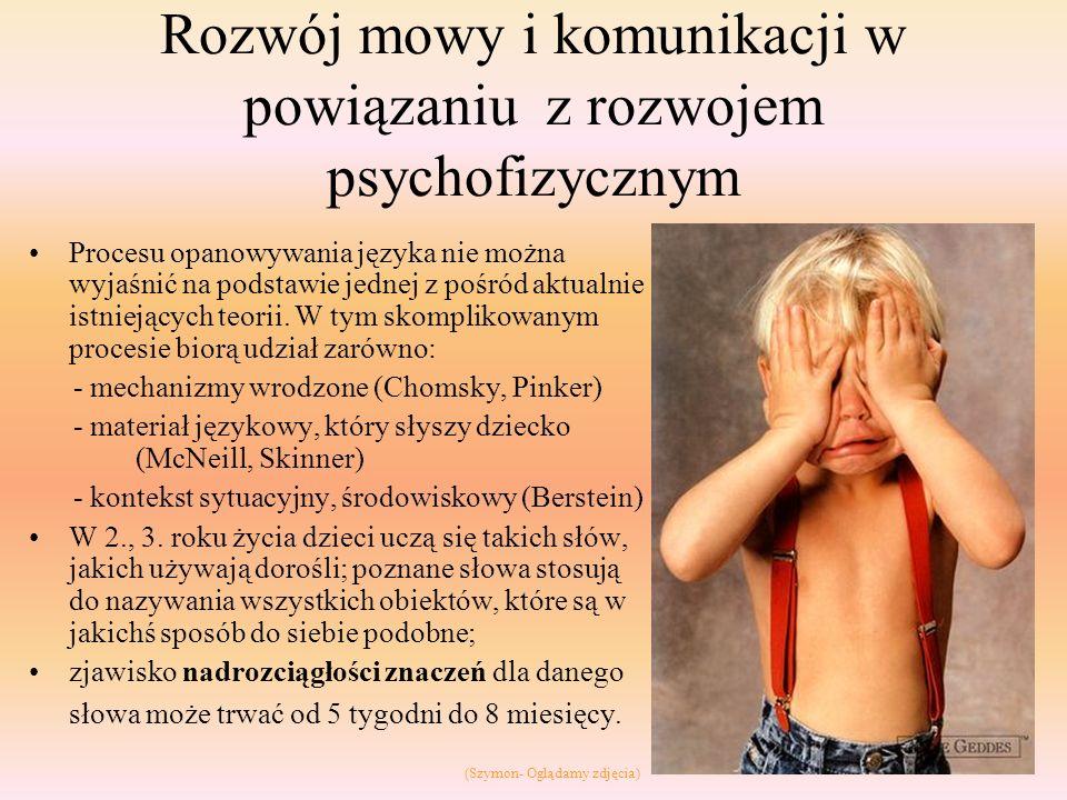 Rozwój mowy i komunikacji w powiązaniu z rozwojem psychofizycznym Procesu opanowywania języka nie można wyjaśnić na podstawie jednej z pośród aktualni