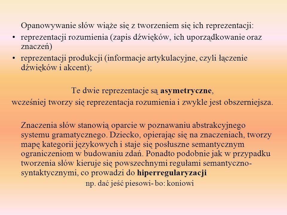 Opanowywanie słów wiąże się z tworzeniem się ich reprezentacji: reprezentacji rozumienia (zapis dźwięków, ich uporządkowanie oraz znaczeń) reprezentac