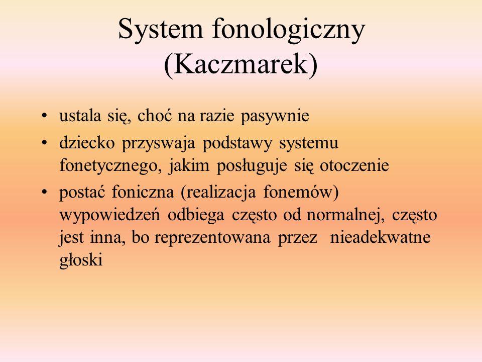 System fonologiczny (Kaczmarek) ustala się, choć na razie pasywnie dziecko przyswaja podstawy systemu fonetycznego, jakim posługuje się otoczenie post