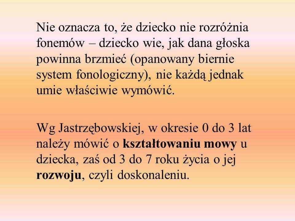 Nie oznacza to, że dziecko nie rozróżnia fonemów – dziecko wie, jak dana głoska powinna brzmieć (opanowany biernie system fonologiczny), nie każdą jed