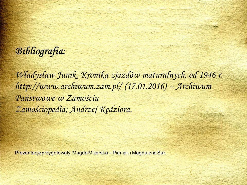 Bibliografia: Władysław Junik, Kronika zjazdów maturalnych, od 1946 r.