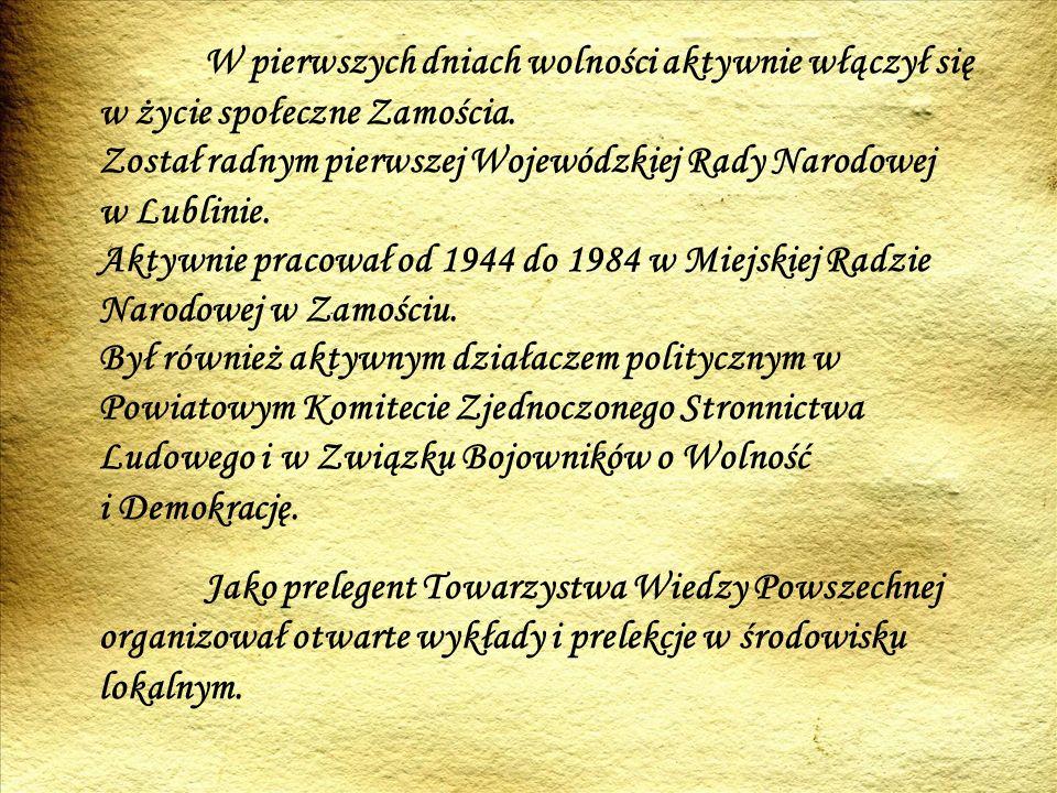 Stał na czele komitetu budowy Szkoły- Pomnika w Sochach.