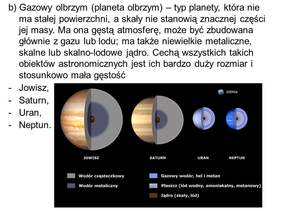 b) Gazowy olbrzym (planeta olbrzym) – typ planety, która nie ma stałej powierzchni, a skały nie stanowią znacznej części jej masy. Ma ona gęstą atmosf