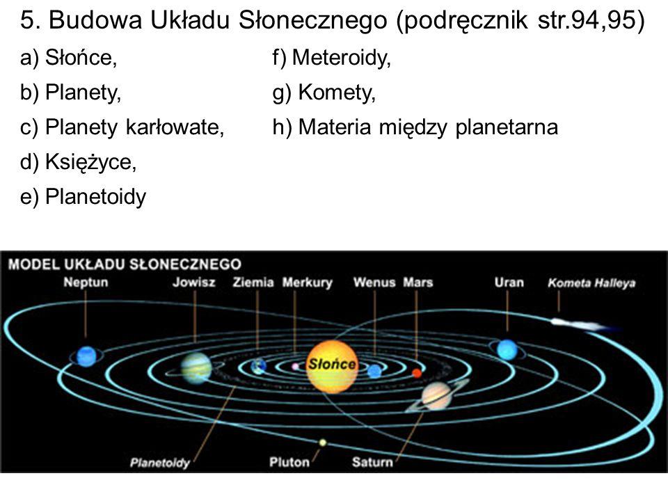 5. Budowa Układu Słonecznego (podręcznik str.94,95) a)Słońce, b)Planety, c)Planety karłowate, d)Księżyce, e)Planetoidy f) Meteroidy, g) Komety, h) Mat
