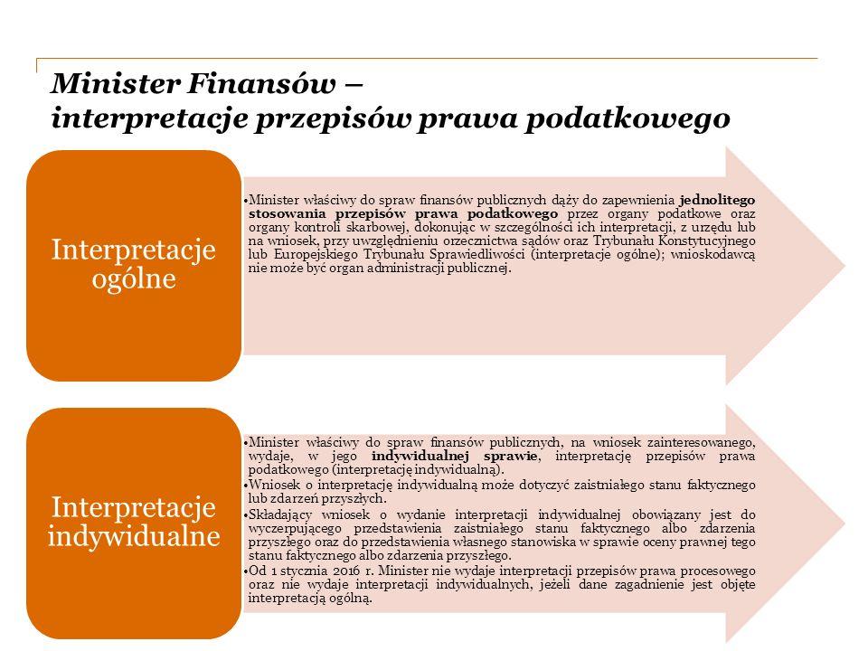 PwC Minister Finansów – interpretacje przepisów prawa podatkowego Minister właściwy do spraw finansów publicznych dąży do zapewnienia jednolitego stosowania przepisów prawa podatkowego przez organy podatkowe oraz organy kontroli skarbowej, dokonując w szczególności ich interpretacji, z urzędu lub na wniosek, przy uwzględnieniu orzecznictwa sądów oraz Trybunału Konstytucyjnego lub Europejskiego Trybunału Sprawiedliwości (interpretacje ogólne); wnioskodawcą nie może być organ administracji publicznej.