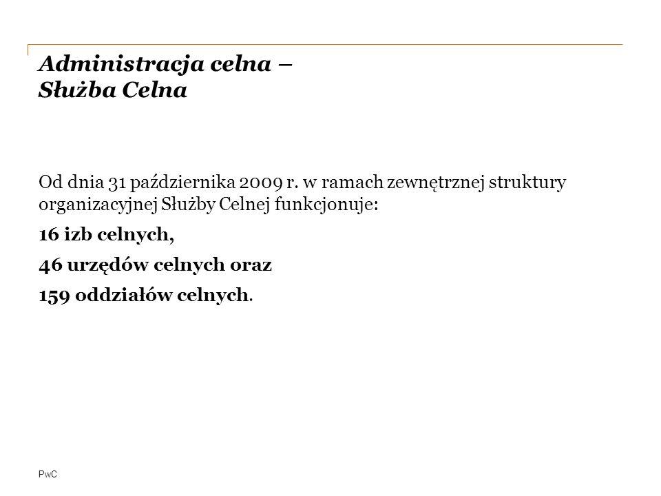 PwC Administracja celna – Służba Celna Od dnia 31 października 2009 r.