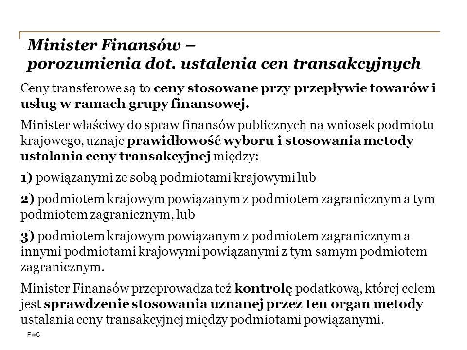PwC Minister Finansów – porozumienia dot.