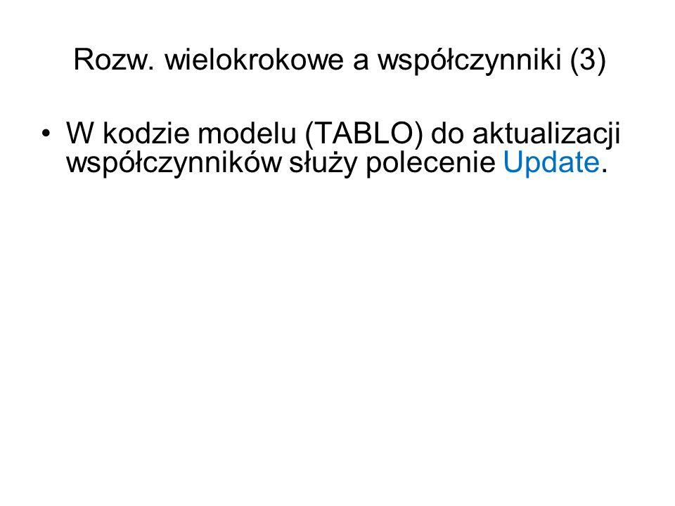 Rozw. wielokrokowe a współczynniki (3) W kodzie modelu (TABLO) do aktualizacji współczynników służy polecenie Update.