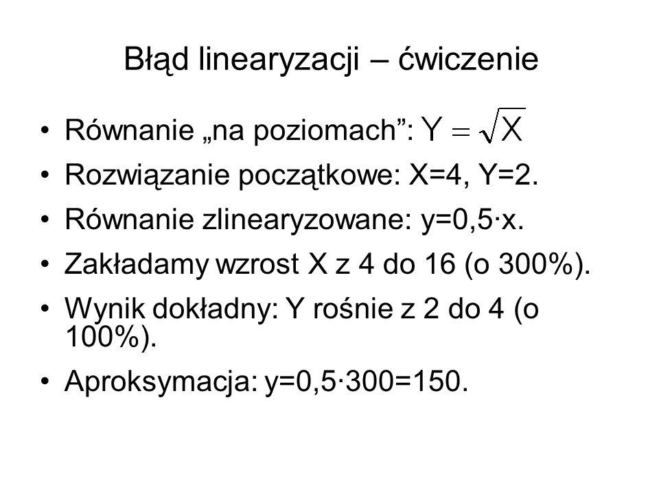 """Błąd linearyzacji – ćwiczenie Równanie """"na poziomach"""": Rozwiązanie początkowe: X=4, Y=2. Równanie zlinearyzowane: y=0,5·x. Zakładamy wzrost X z 4 do 1"""