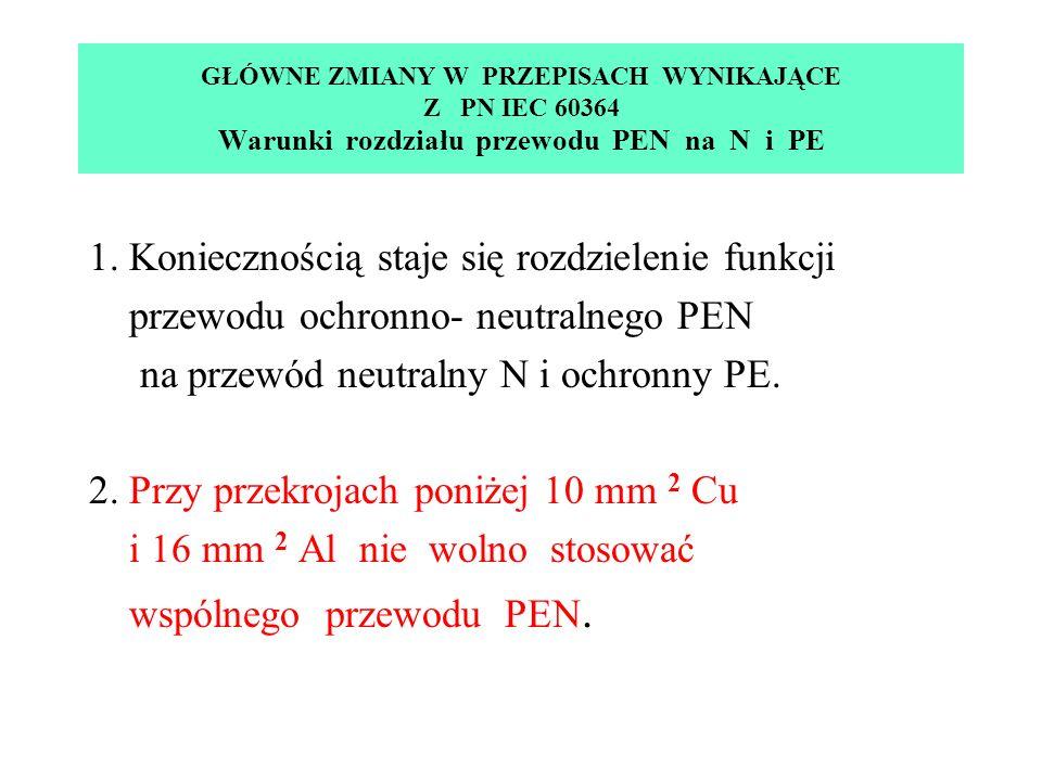 GŁÓWNE ZMIANY W PRZEPISACH WYNIKAJĄCE Z PN IEC 60364 Warunki rozdziału przewodu PEN na N i PE 1.