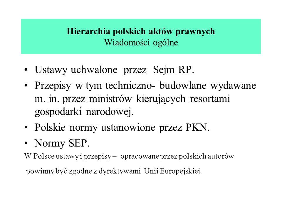 Hierarchia polskich aktów prawnych Wiadomości ogólne Ustawy uchwalone przez Sejm RP. Przepisy w tym techniczno- budowlane wydawane m. in. przez minist