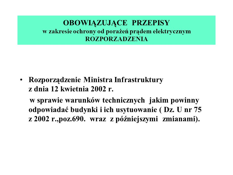 Rozporządzenie Ministra Infrastruktury z dnia 12 kwietnia 2002 r. w sprawie warunków technicznych jakim powinny odpowiadać budynki i ich usytuowanie (