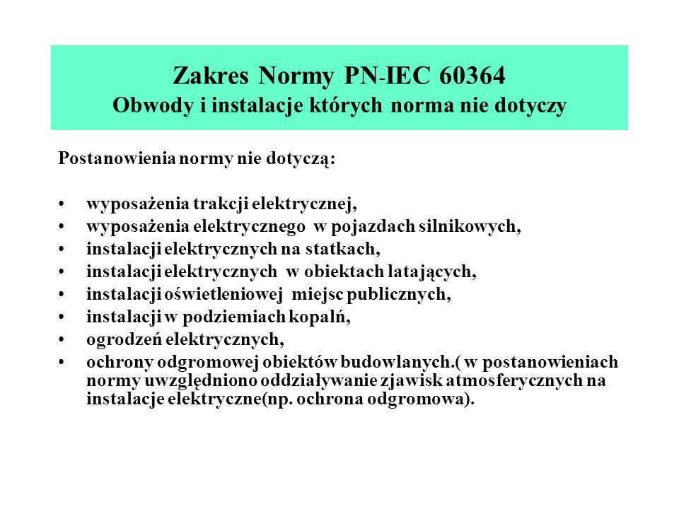 Zakres Normy PN - IEC 60364 Obwody i instalacje których norma nie dotyczy Postanowienia normy nie dotyczą: wyposażenia trakcji elektrycznej, wyposażen