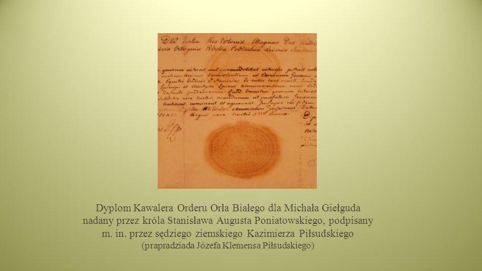 Dyplom Kawalera Orderu Orła Białego dla Michała Giełguda nadany przez króla Stanisława Augusta Poniatowskiego, podpisany m.