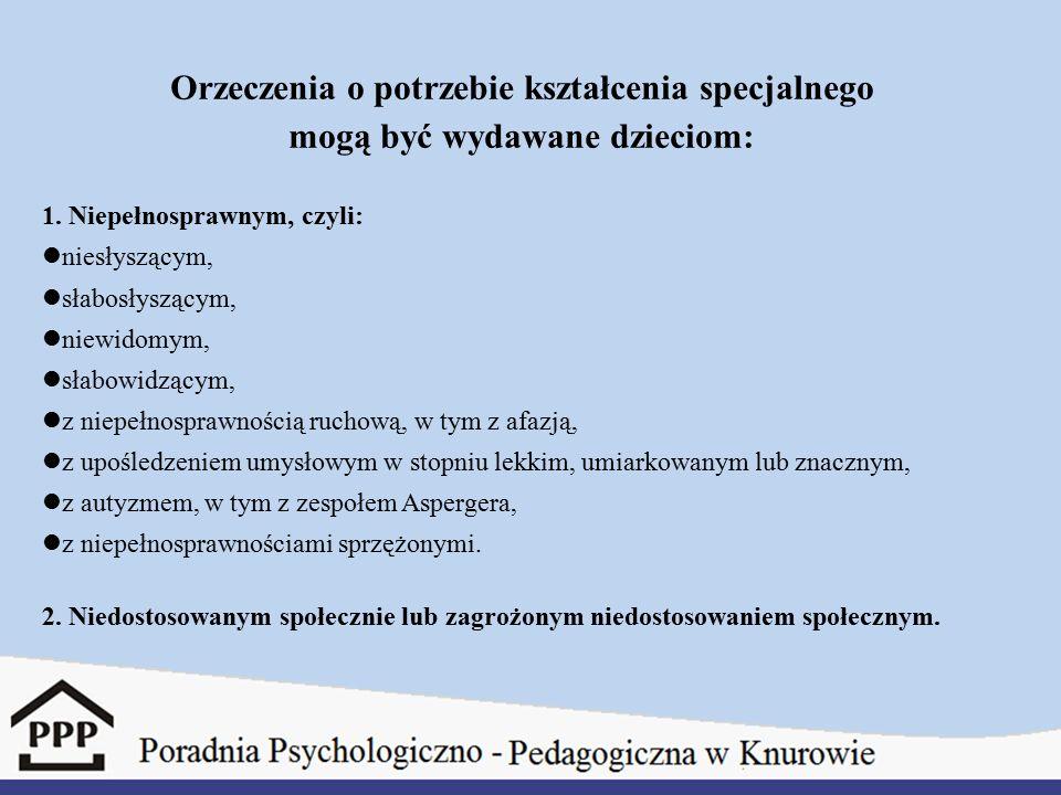 Dokumenty potrzebne do ubiegania się o orzeczenie do kształcenia specjalnego: 1)Aktualne zaświadczenie lekarskie.