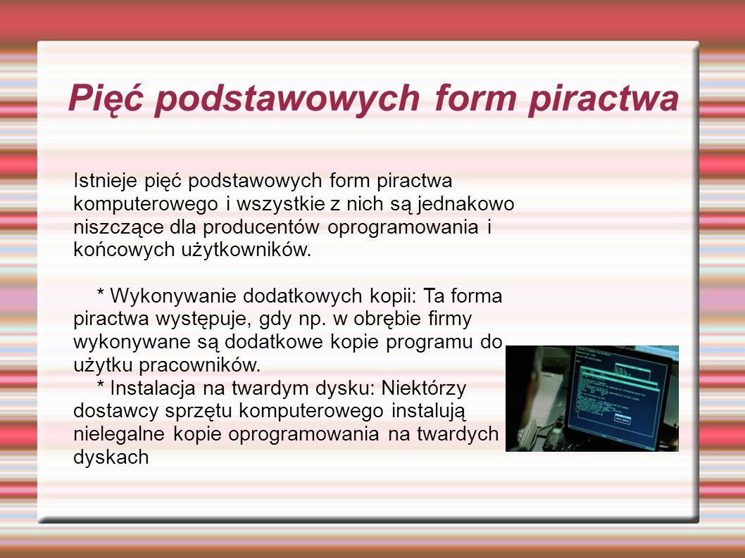 Istnieje pięć podstawowych form piractwa komputerowego i wszystkie z nich są jednakowo niszczące dla producentów oprogramowania i końcowych użytkowników.