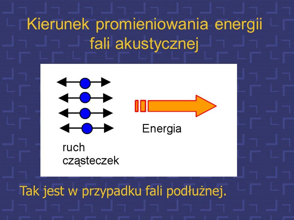 Parametry fali akustycznej długość fali (  = cT Założenie: ruch cząsteczek wokół położenia równowagi jest harmoniczny f=1/T c – prędkość rozchodzeni