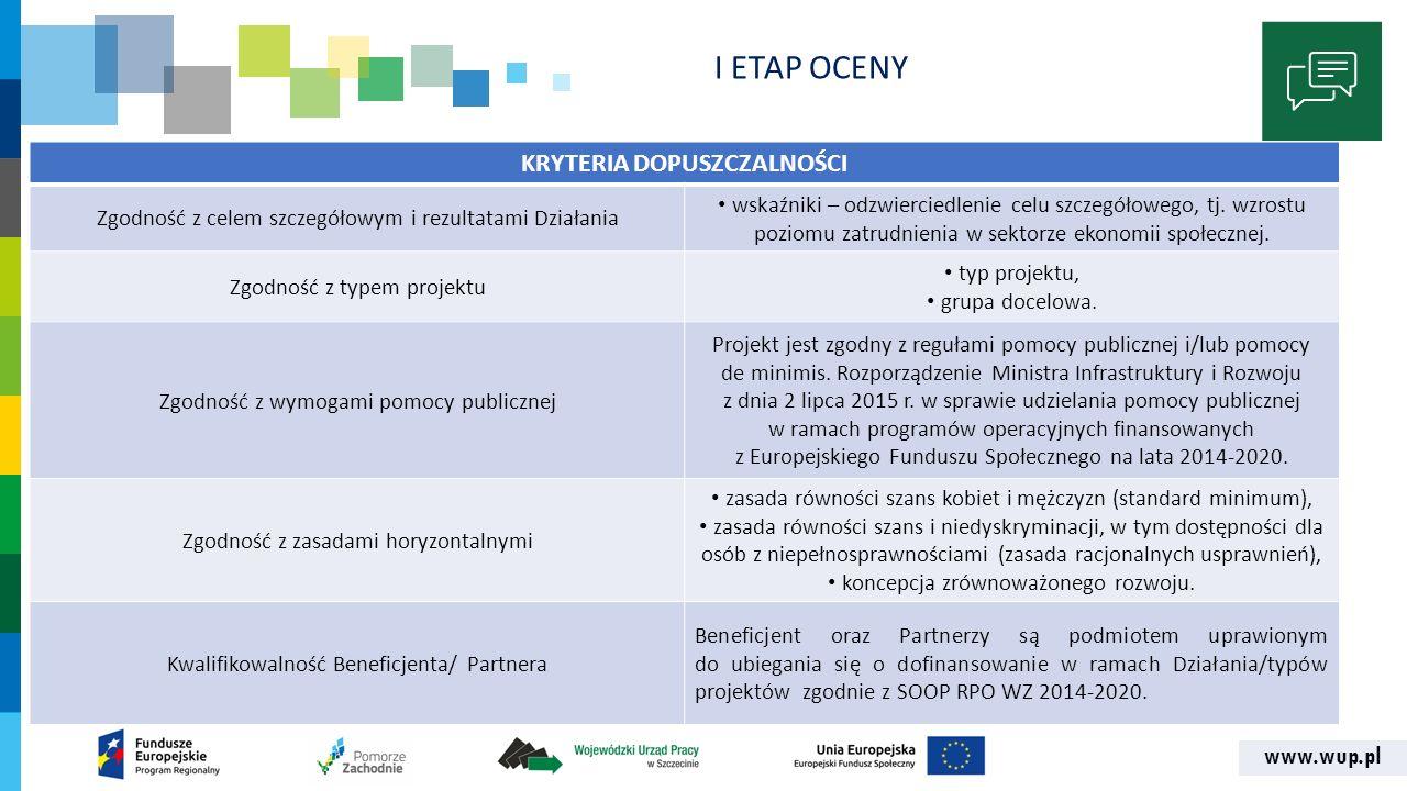 www.wup.pl KRYTERIA DOPUSZCZALNOŚCI Zgodność z celem szczegółowym i rezultatami Działania wskaźniki – odzwierciedlenie celu szczegółowego, tj. wzrostu