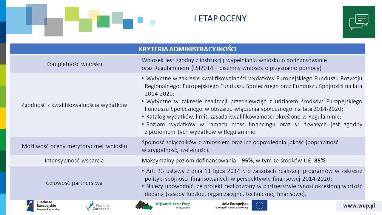 www.wup.pl KRYTERIA ADMINISTRACYJNOŚCI Kompletność wniosku Wniosek jest zgodny z instrukcją wypełniania wniosku o dofinansowanie oraz Regulaminem (LSI