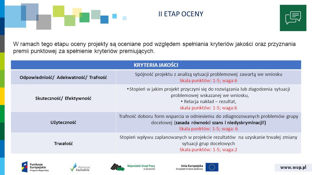 www.wup.pl II ETAP OCENY KRYTERIA JAKOŚCI Odpowiedniość/ Adekwatność/ Trafność Spójność projektu z analizą sytuacji problemowej zawartą we wniosku Ska